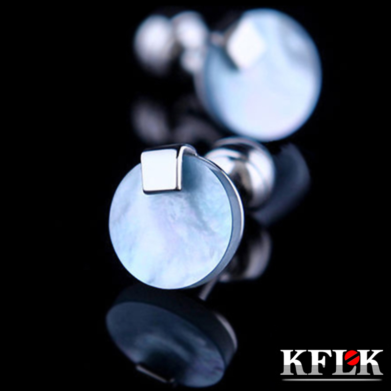 KFLK Jewelry shirt Fashion cufflink for mens Brand  Blue Shell cuff links Button High Quality Luxury Wedding Groom Free Shipping