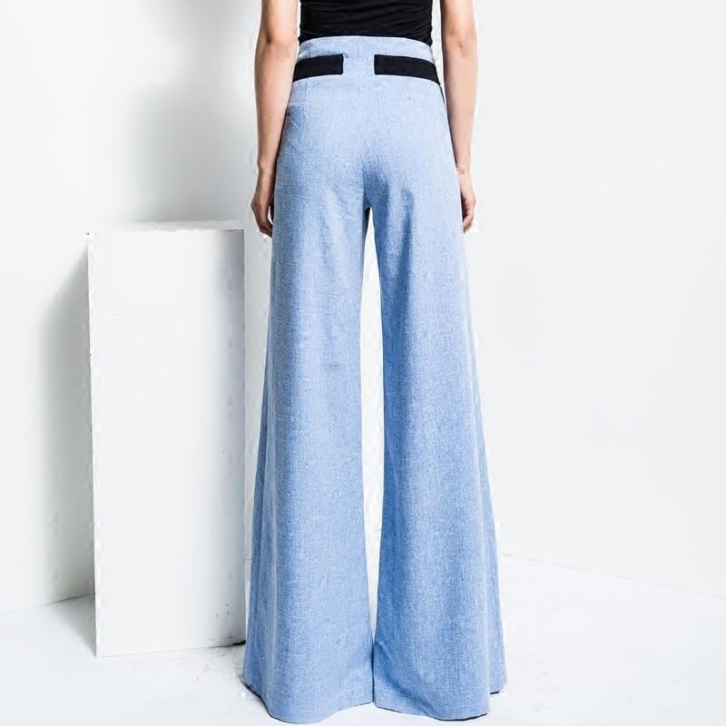 Vrouwen Nieuwe Effen Kleur Rechte Broek Blauw Hoge Taille Streetwear Casual Mode Groothandel Wijde Pijpen Broek Plus Size TrousersMK0018 - 6