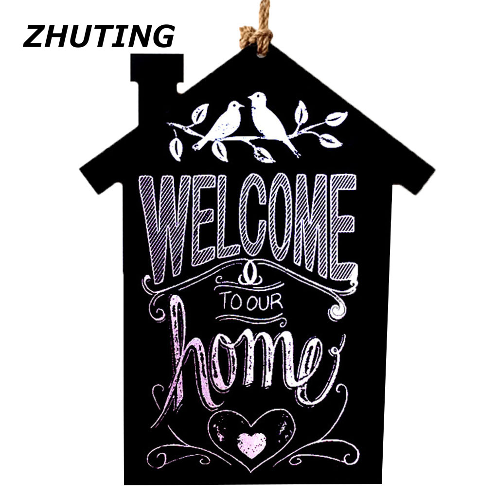 Message Board and Bulletin Board Wooden House House Message Board Blackboard Home Decorated Shelf Board