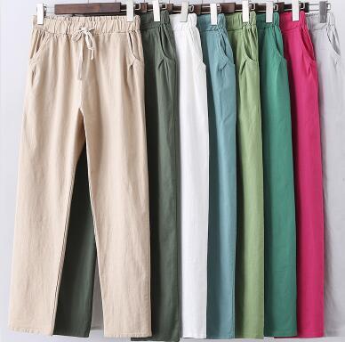 2020 Summer Women Cotton Linen Pants Plus Size 5XL 6XL 7XL Trousers Loose Casual Solid Color Women Harem Pants