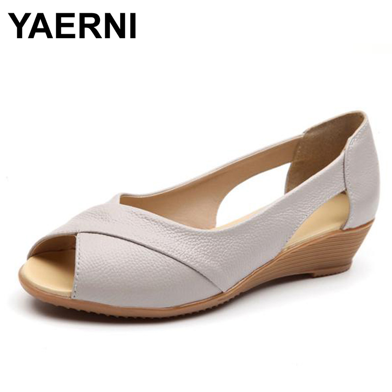YAERNI Summer Style Weave Genuine Leather Wedges Heel Sandals Women Flat Peep Toe Soft Bottom Solid
