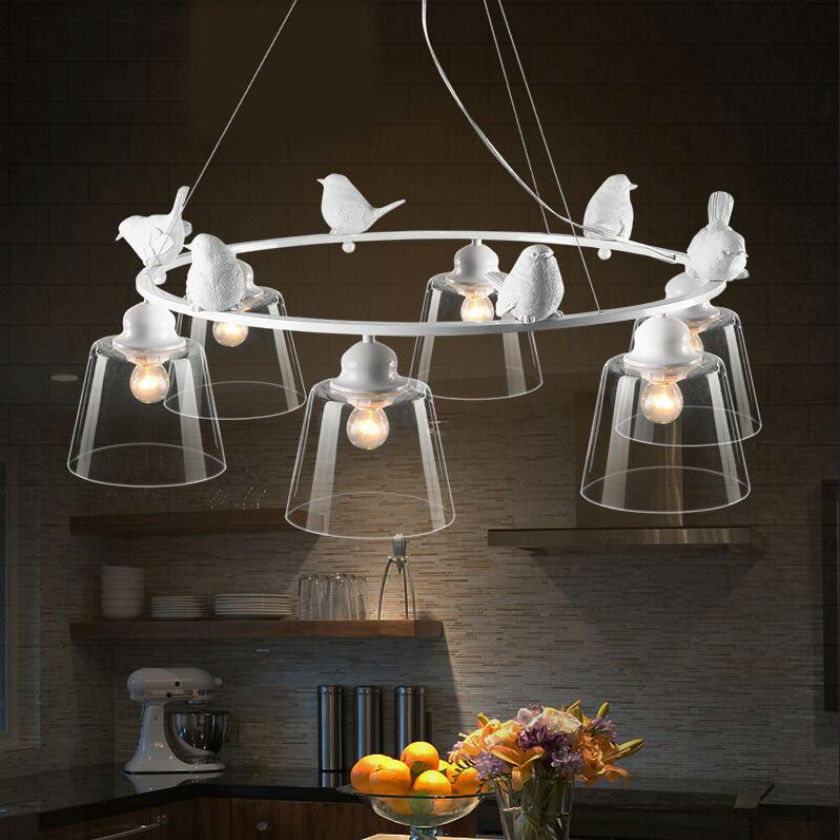 Modern Home Decoration 3/6 Head Bird LED Light Dining Room Pendant Light Glass Iron Light Bar Light 85v-260v Free Shipping купить