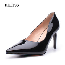 BELISS 2019 Elegant Pumps For Women High heels Nude Sexy Ladies Wedding Shoes Patent Leather Pointed Toe X13