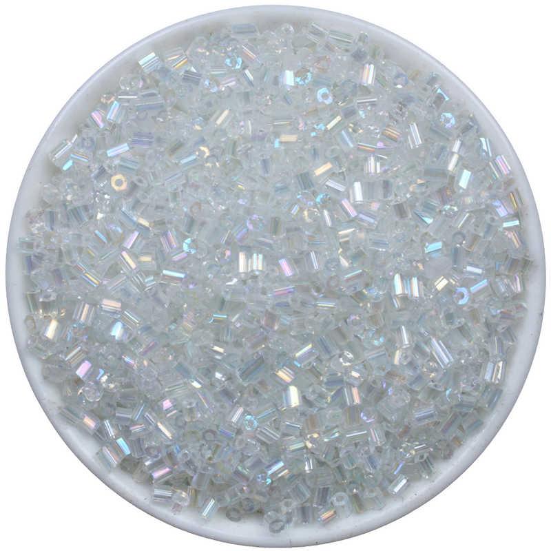 2x3 mét Trắng AB Czech Ống Kính Bugle Glass Beads Spacer Seed 1000 cái Áo Pha Lê Dài Ống bead Cho DIY Đồ Trang Sức Làm