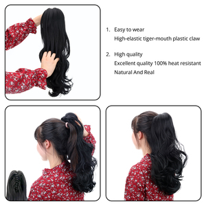 """Image 5 - 18""""Synthetic Ponytail Wigs Claw Clip On Hair Extensions Hairpiece Long Deep Wave Clip In Ponytail Hair Extension Heat Resistant"""