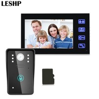 7inch Recording Video Door Phone Intercom Doorbell With 8G TF Card Touch Button Remote Unlock Night