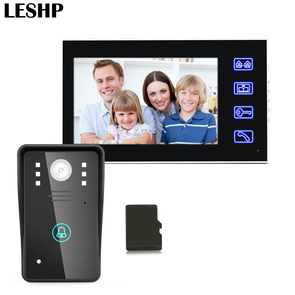 7inch Recording Video Door Phone Intercom Doorbell With 8G TF Card Touch Button Remote Unlock Night Vision Security Camera bqlzr 8 inch hairline finish silver security door slide flush latch bolt
