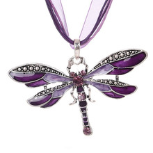 ZOSHI Necklace Silver Dragonfly Statement Necklaces Pendants Vintage Rope Chain Necklace Women Accessories wholesale Jewelry