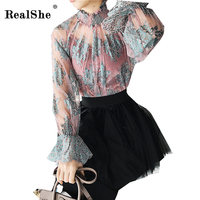 RealShe Spring Women S 2018 Shirts Woman Flare Long Sleeved Blouses Fashion Perspective Lace Tops Blusas