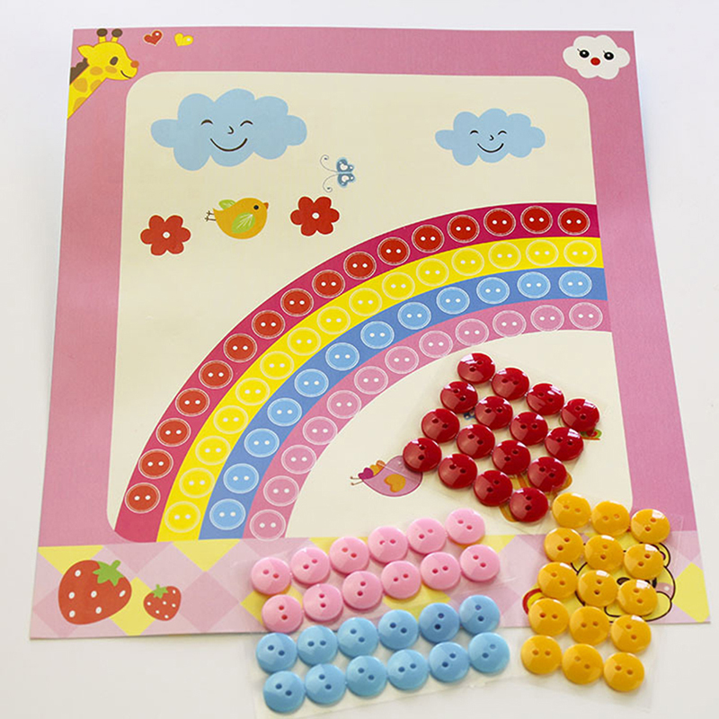 Button Puzzle Stickers Handmade DIY Toys For Children  Interactive Toys Hand-made Paste Picture Toys Sticker Kids Gifts