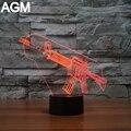 3D LED Fresco Ametralladora Ilusión USB Lámpara de mesa Táctil 7 Colores Nocturna Centellante Ambiente Lámpara de Escritorio Para los Regalos de Los Niños