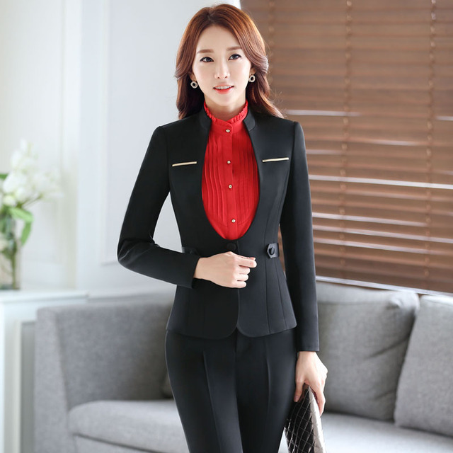 b4feee6986c85 Plus Size 4XL Autumn And Winter Formal Pantsuits Professional Uniform  Styles Jackets And Pants Business Office Trousers Set-in Pant Suits from  Women's ...