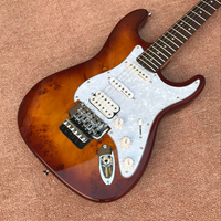 Brown electric guitar with white pearl pickup, SSH pickup, rosewood fingerboard, Floyd Rose, customized service