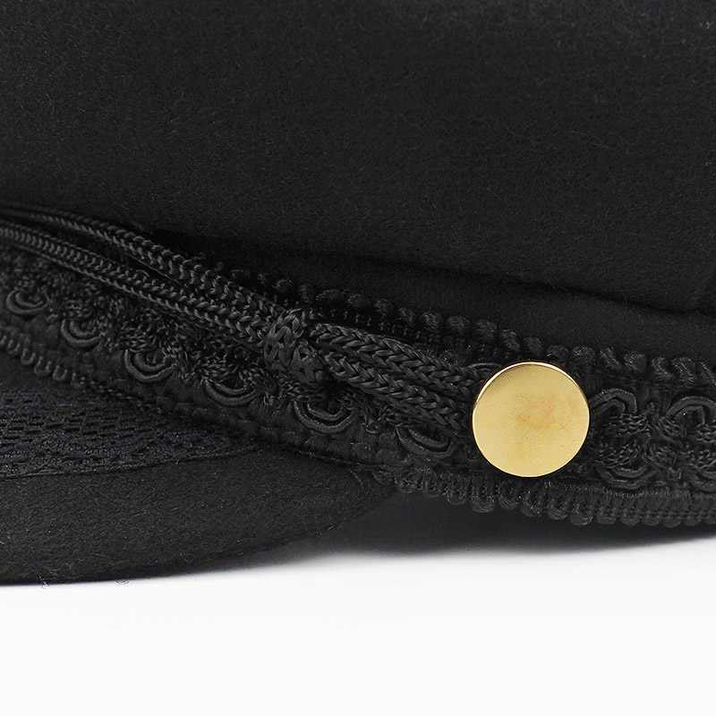 4d696e09 ... Army Military Hat Cap Women Fall Autumn Winter lace Hats Black Korean  Literary British Military Hats