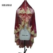 SHAMAI altın dantel kenar bordo kırmızı düğün duvağı s uzun 150cm uzunluk tek katmanlı gelin peçe düğün duvağı olmadan tarak