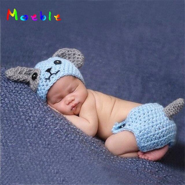 Lindo cachorro perro bebé recién nacido niños Fotografía utilería tejido  Animal disfraz niños trajes ganchillo bebé e1c62fc5515