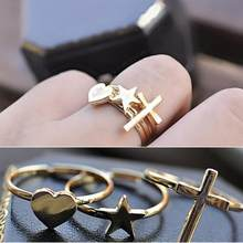 HOT Makeup Decoration Fashion Rings Set New Retro Cross / Heart / Five-Pointed Star Three-Piece Ring For Party(China)