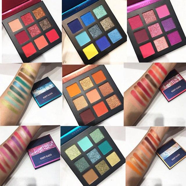 Красота глазированные макияж тени для век палитра для макияжа Кисти 9 Цвет палитра Макияж Палитра Shimmer пигментированные тени для век для макияжа