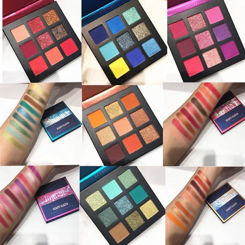 Красота глазированные макияж тени для век палитра для макияжа Кисти 9 Цвет палитра Макияж Палитра Shimmer пигментированные тени для век для мак...