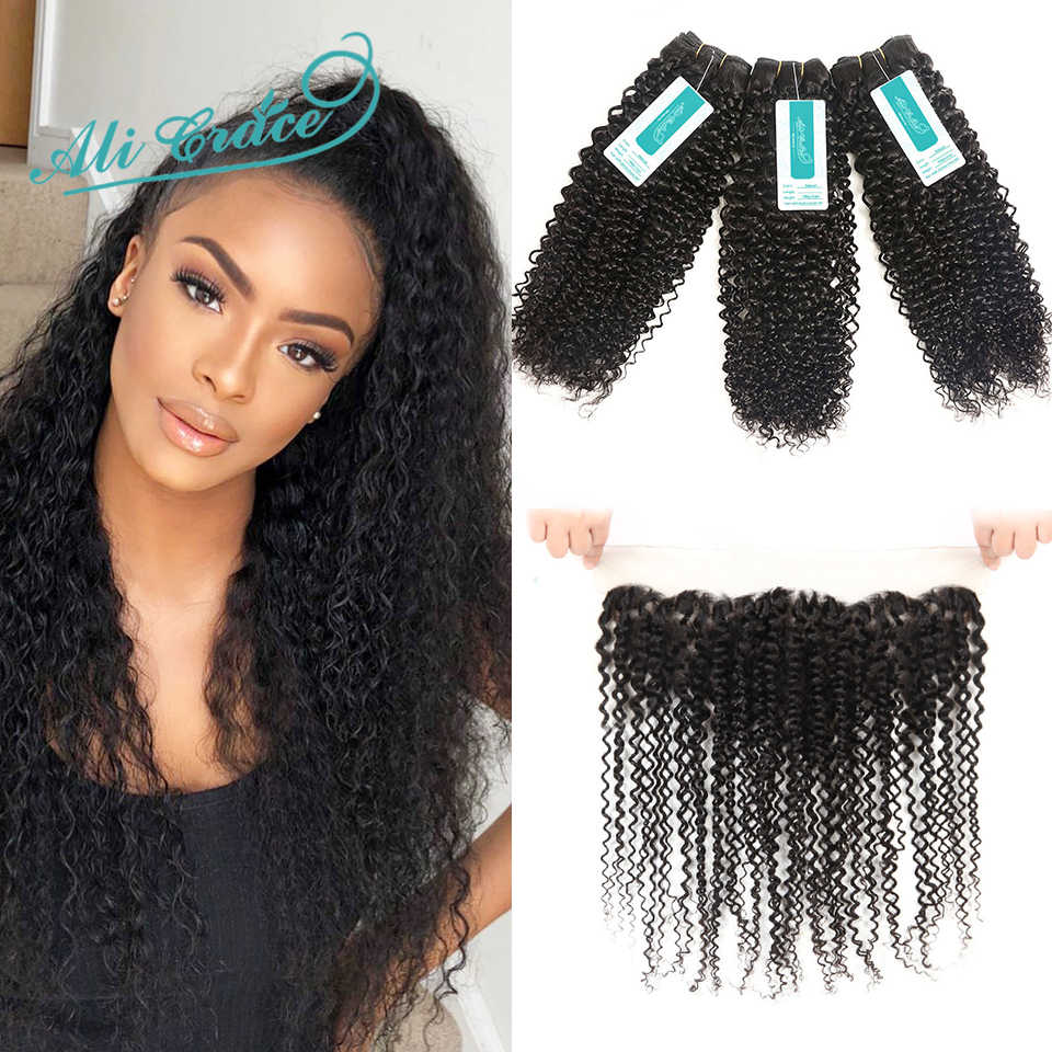 Curly Bundles With Frontal Brazilian Kinky Curly Remy Human Hair With Closure Ali Grace Hair Bundles With Lace Frontal