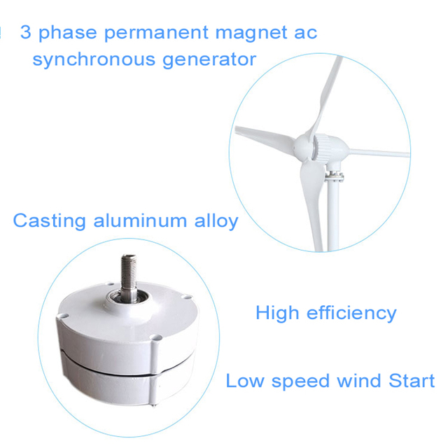 1000W Wind Turbine Generator 24V 48V 2.5m/s Low Wind Speed Start 3 blade 1150mm , with IP 67 charge controller