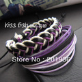 Fashion Style Wrap Multilayer Genuine Leather Bracelet with Braided rope,2braceles/set,Young men,Punk,3Colors, Size adjustable