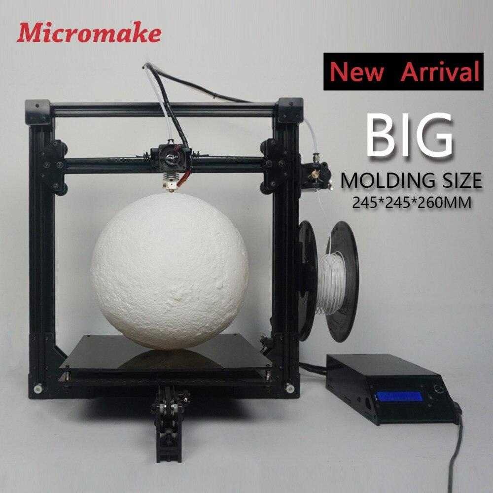 Prix pour 2017 micromake 3d imprimante nouveau micromake c1 avec h-botxz structure grande taille d'impression 245*245*260mm diy kit