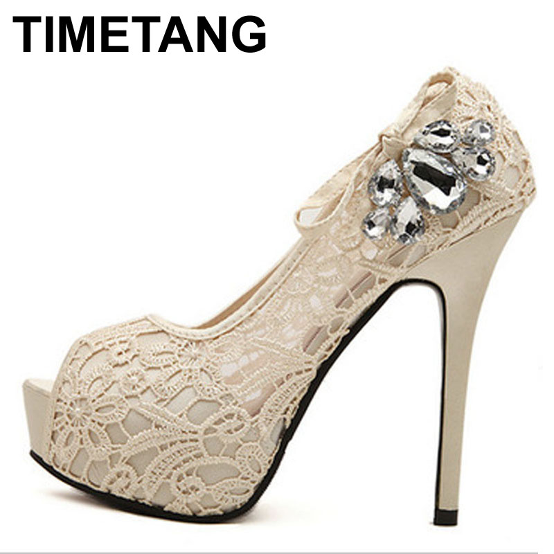 TIMETANG women shoes pumps sexy lace rhinestone mesh hollow open toe high heels ladies fashion brand nude wedding platfoem shoes aidocrystal 2016 new women shoes pumps flower sexy rhinestone round toe high heels ladies fashion brand wedding platform shoes