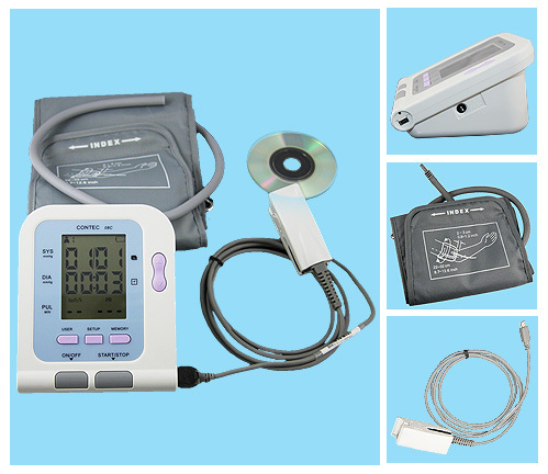 Free Shipping+FDA,CE, CONTEC08C, Digital Blood Pressure Monitor, NIBP data store SW+SPO2 probe free shipping contec08c with adult spo2 sensor vet blood pressure monitor sphygmomanometer digital automatic nibp
