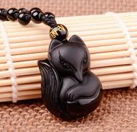100% Natural Obsidian Black Jadeite Pendant Lucky Love Fox Necklace A19