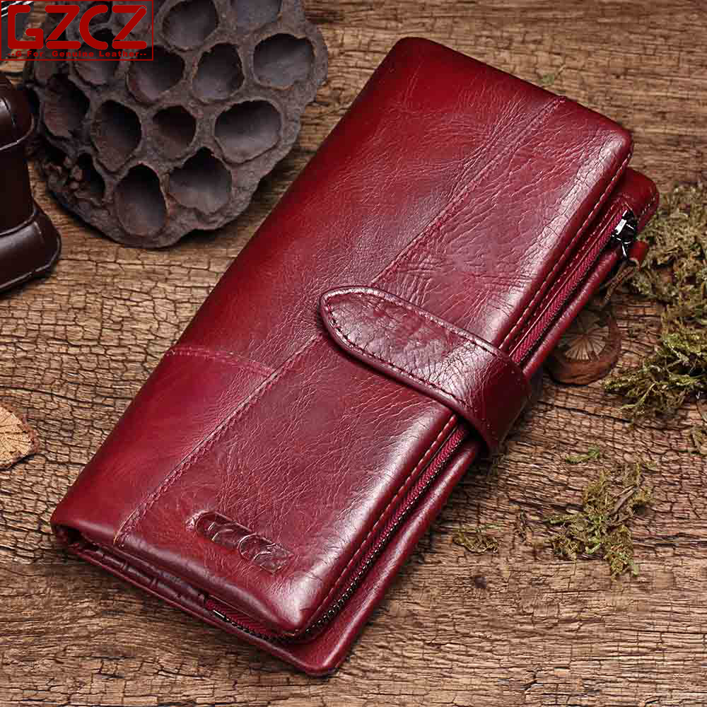 GZCZ 2018 Genuine Leather Women Wallet Purse Female Luxury Cow Leather Business Women s Handbag Genuine