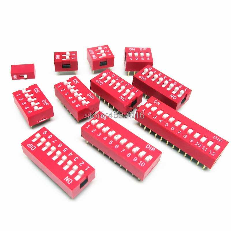 50PCS Slide Type Switch Module 2.54mm 8-Bit 8 Position Way DIP Pitch Red