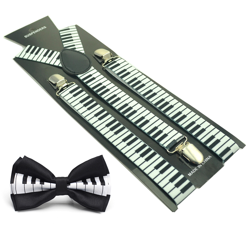 2020 NEW Women Men Unisex 17 Colors Suspender And Bow Tie Set Y-Shape Piano Keyboards Sets Office Casual Bow Tie Set GOOD SALE
