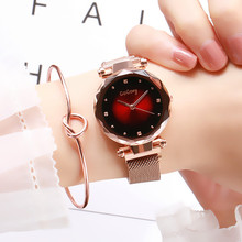 2019 New Arrival Fashion Rose Gold Women Watch Luxury Exquisite Colorful Dial Magnet Buckle Ladies Quartz Wristwatch Female