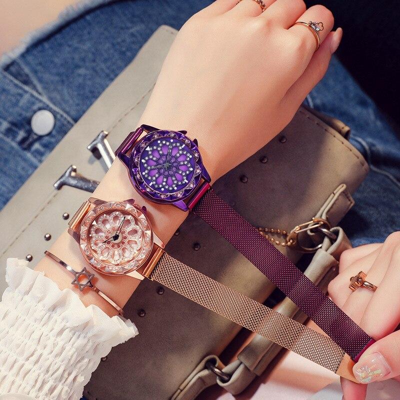 Women Lucky Watch 2019 Luxury Diamond Flower Rotating Dial Watch Fashion Ladies Crystal Quartz Magnetic Wristwatches Reloj Mujer