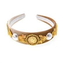 pearl headband women Velvet Fabric Jewelled Headband  Diamante Crystal Wide hairband baroque hair accessories personlised 2019
