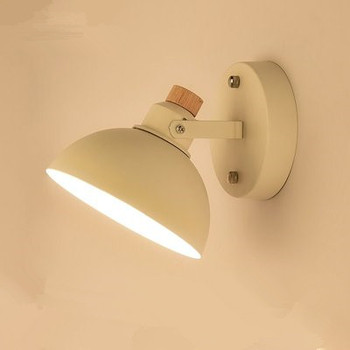 Nordic White Wall Lamp For Living Room E27 Bedroom Wall Light Metal Wood Wall Sconce LED Bedside Lights Home Lighting