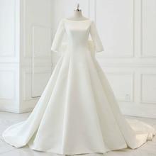 Nieuwe A lijn Satin Modest Wedding Jurken Met 3/4 Mouwen Boothals Corset Terug Eenvoudige Vintage Bruidsjurken Modest Custom Made
