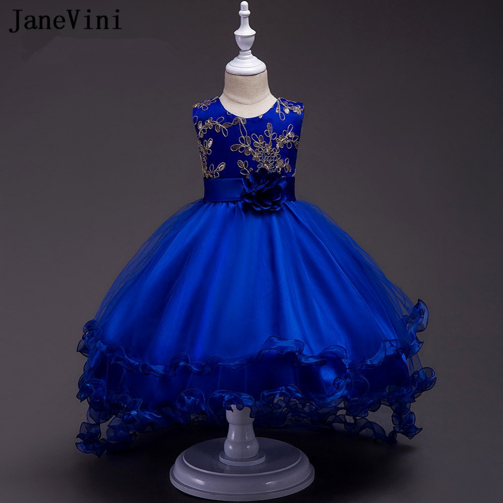 JaneVini Princess Royal Blue High Low   Flower     Girl     Dresses   Ball Gown Ruffles Gold Lace Appliques Sequins Kids Birthday Prom   Dress