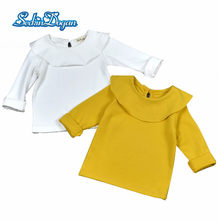 SeckinDogan Baby Girl Tops Ruffled Collar Baby Girl Clothes Yellow Solid Cotton Baby Girls T-shirt Long Sleeve Birthday Shirt(China)
