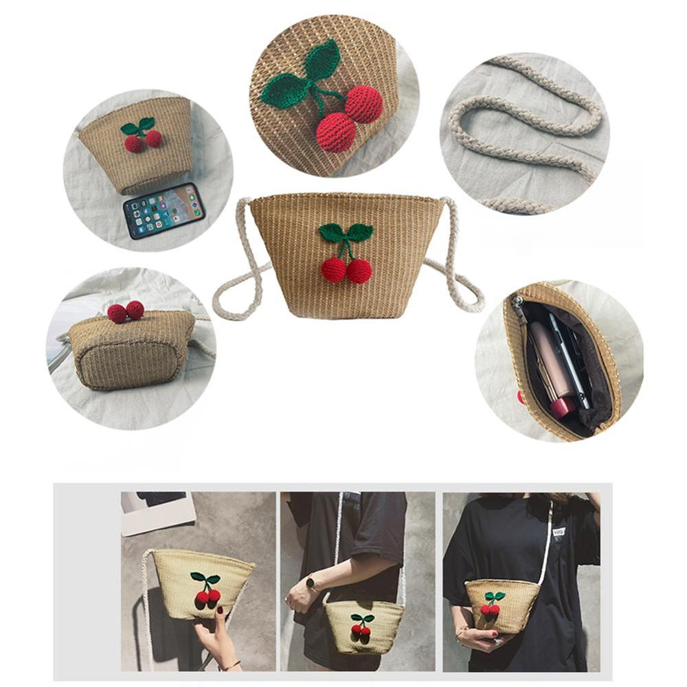 Woven Cherry Pattern Crossbody Bag Straw Braided Bags Fashionable Natural Unique Pompon Beach Bags Single shoulder Women Bag in Top Handle Bags from Luggage Bags