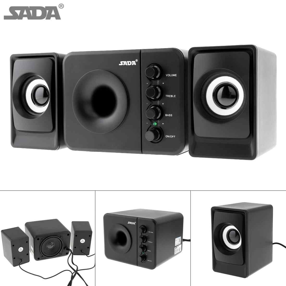 SADA D-205 USB2.0 Subwoofer Komputer Speaker dengan 3.5 Mm Audio Plug dan USB Power Plug untuk Desktop PC Laptop MP3 ponsel MP4
