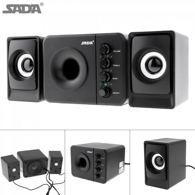 SADA D 205 USB2.0 Subwoofer Computer Speaker with 3.5mm Audio Plug and USB Power Plug for Desktop PC Laptop MP3 Cellphone MP4
