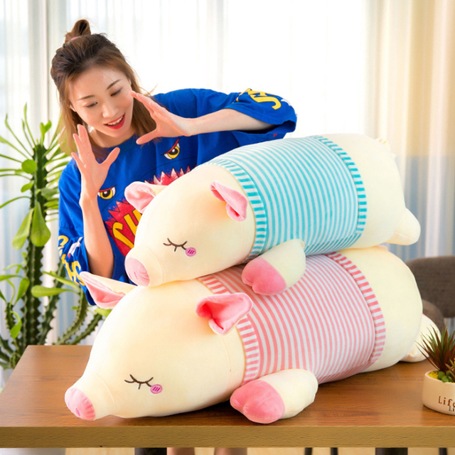 Soft down cotton Stuffed & Plush Animals pig doll striped pig plush toy children girl Plush Pillows Creative sale