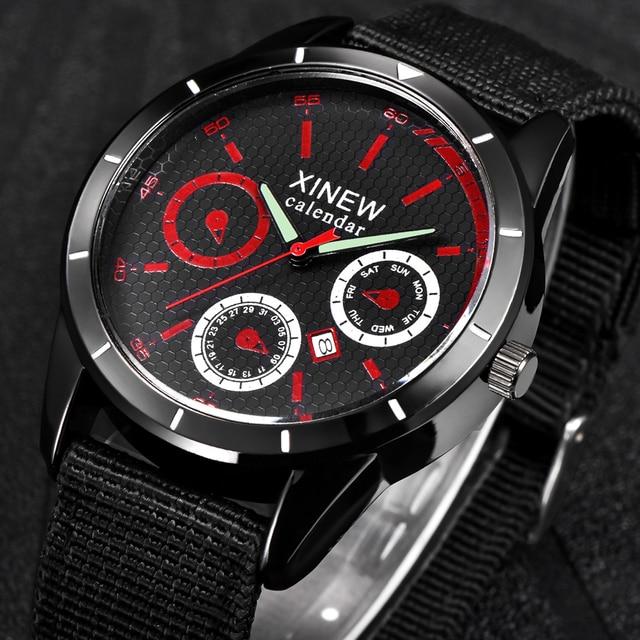 fdf4cce7b20 Relógios Baratos por atacado De Nylon Mens Data Banda Quartzo Relógio De  Pulso Dos Homens Relógio