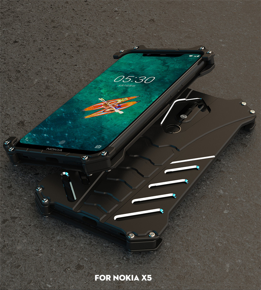 For Nokia X5 Case Original R-JUST Batman Armor Aluminum Metal For Nokia 5.1 plus Case Shockproof Coque (8)