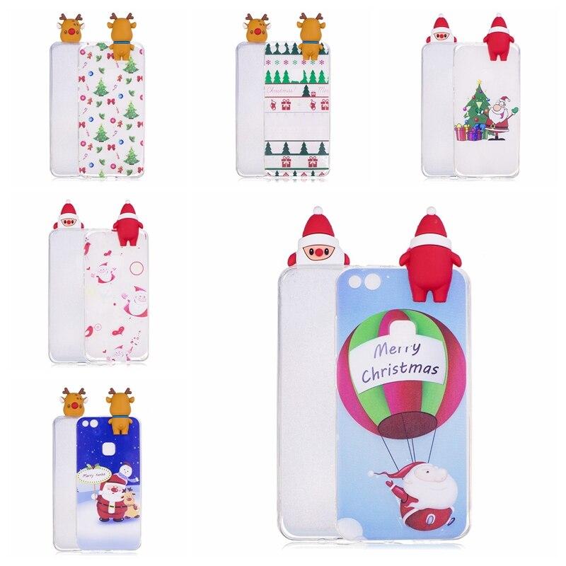 For Huawei P10 Lite Phone Case Cute 3D Christmas Silicone Case Cover On Coque Huawei P10 Lite Cases For Huawey P10lite