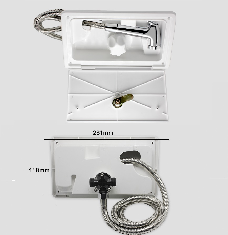 Premintehdw RV Exterior Shower Box Kit Shower Faucet, Shower Hot Cold Water Mixer Artic Latch premintehdw abs wall mount bathroom folding seat fold up seats shower rv seat