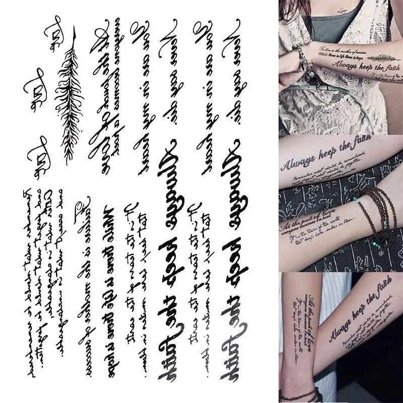1 Sheet Novelty Black English Letters Fake Temporary Tattoo Universal Eco Friendly Tattoos Sticker DIY Body Art Tattoos
