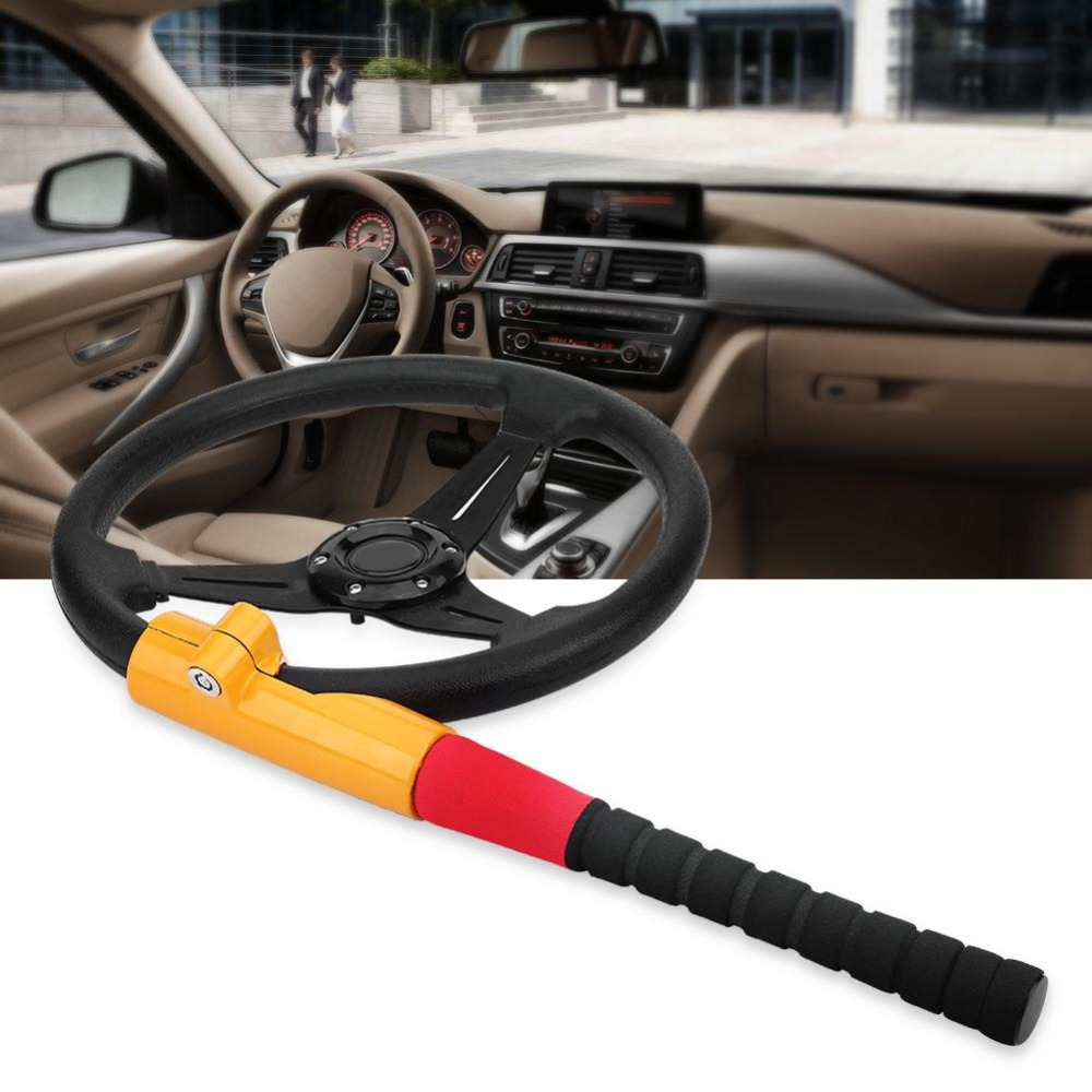Universal T Style Anti Theft Auto Car Truck Security Baseball Steering Wheel Lock With 2 Keys With Tough-steel Construction